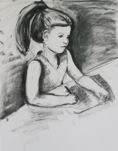 A child portrait charcoal sketch