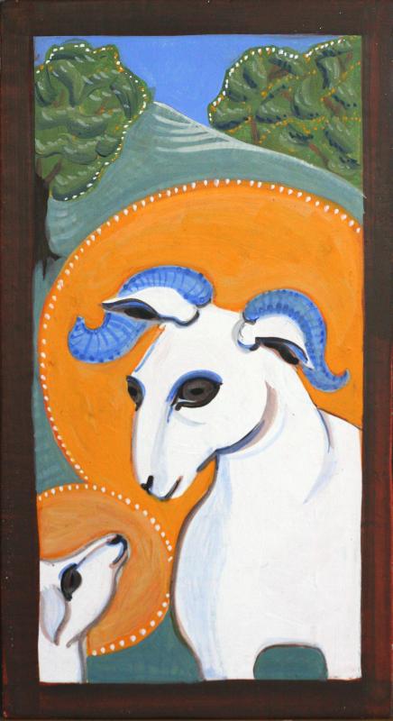 Sheep and lamb in egg tempera