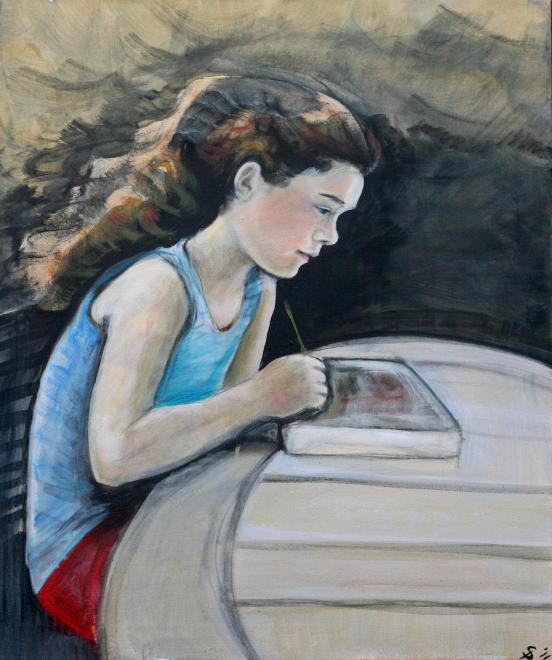 Meg: A Sketch in Acrylic