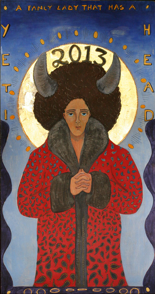 icon painting of a buffalo goddess